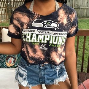 Tops - Seattle Seahawks Custom Bleach Splatter Crop Top